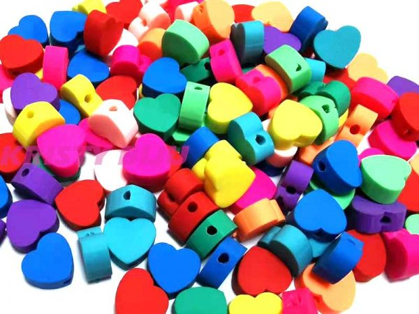 Conta Miçanga coração colorido com furo passante
