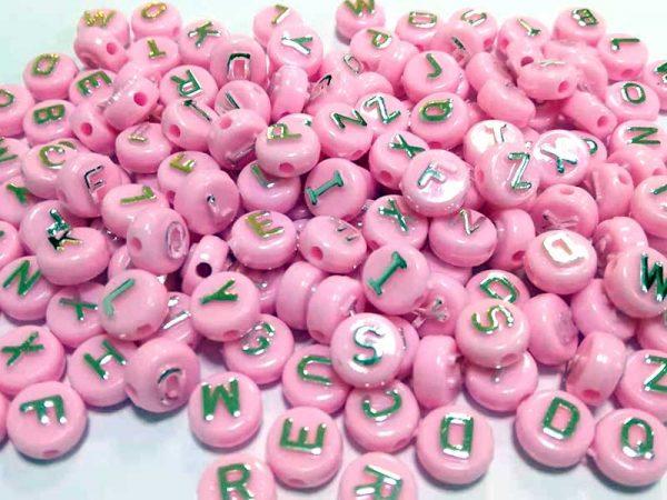 Miçanga Infantil Colorido Alfabeto Smile Com Furo Passante Confecção De Pulseiras