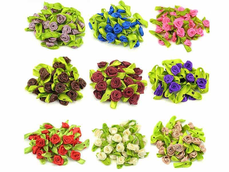 Mini Flor Rococó Cetim Com Laço Para Artesanato